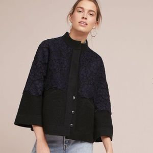 Anthro Field & Flower Wool & Lace Sweater Jacket M